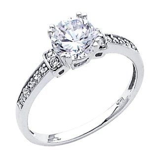 14K White Gold Round Solitaire with Side Stone Top Quality Shines CZ Cubic Zirconia 1.25 CT Equivalent Ladies Wedding Engagement Ring Band The World Jewelry Center Jewelry