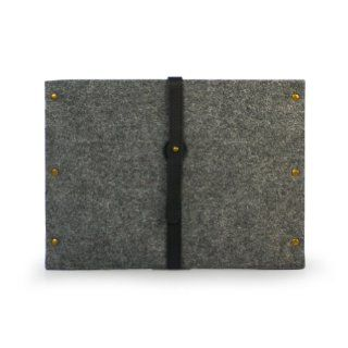 Lavievert Handmade Gray Felt Case Bag Sleeve Pouch with Real Leather Strap and Metal Button and 6 Metal Nails for Apple iPad 1 2 3 4 Computers & Accessories