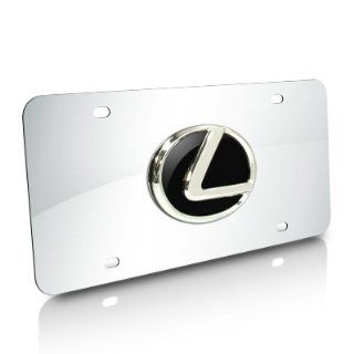 Lexus 3D Black Infill Logo Chrome Steel License Plate Automotive
