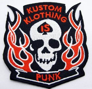 Skull Rockabilly Tattoo Punk Kustom Klothing Embroidered Sew on or Iron on Patch