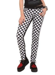 Royal Bones Checkered Split Skinny Jeans Size  1
