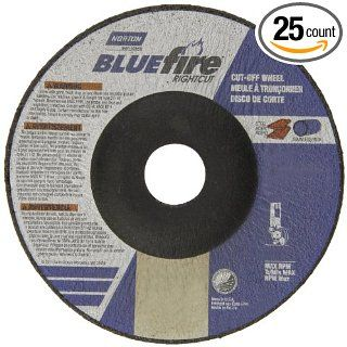 "Norton Blue Fire Plus Right Cut Right Angle Grinder Reinforced Abrasive Flat Cut off Wheel, Type 27, Zirconia Alumina and Aluminum Oxide, 7/8"" Arbor, 4 1/2"" Diameter x 0.045"" Thickness (Pack of 25) Abrasive Cutoff Wheels Industrial & S"