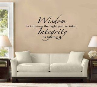 "40"" Wisdom Is Knowing the Right Path to Take. Integrity Is Taking It. Large Wall Decal Sticker Quote Home Decoration Decor   Wisdom Is Knowing Th Right Path To Take Integrity Is Taking It Vinyl Wall D"