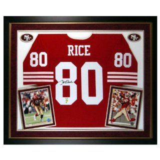 Jerry Rice Framed Autographed Deluxe Red Custom Jersey  Sports Related Collectibles  Sports & Outdoors