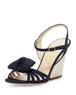 ivana grosgrain wedge sandal   kate spade new york   Navy (39.0B/9.0B)