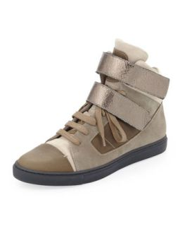 Suede High Top Sneaker, Taupe/Gunmetal   Brunello Cucinelli   Taupe (37.0B/7.0B)