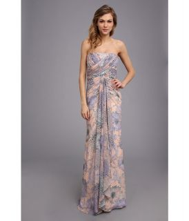 Badgley Mischka Floral Chiffon Gown Womens Dress (Purple)