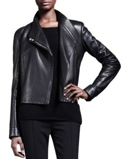 Womens Knit Panel Leather Moto Jacket   THE ROW   Black (8/40)