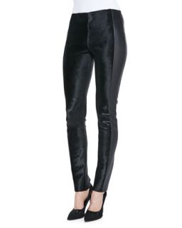 Womens Stretch Calf Hair Paneled Leather Pants   Arzu Kaprol   Black (44/12)