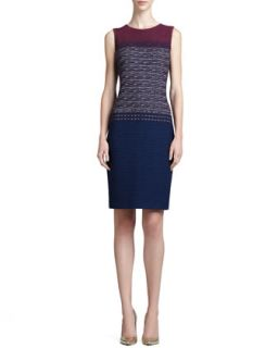 Womens Textured Jewel Neck Sheath Dress, Marine/Blue   St. John Collection