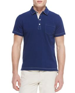 Mens Contrast Topstitching Polo Shirt   Billy Reid   Blue (LARGE)