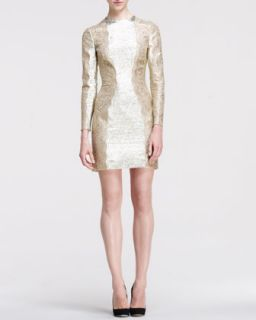 Womens Metallic Long Sleeve Lace Side Dress   Stella McCartney   White gold