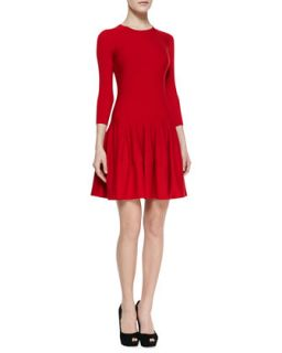 Womens Jewel Neck Dropped Waist Dress, Red   Alexander McQueen   Red (MEDIUM)