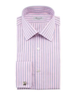 Mens Striped French Cuff Dress Shirt, Pink/Blue   Charvet   Pink/Blue (43/17L)