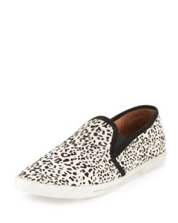 Kidmore Leopard Print Calf Hair Slip On, Black/White   Joie   Black/White dot