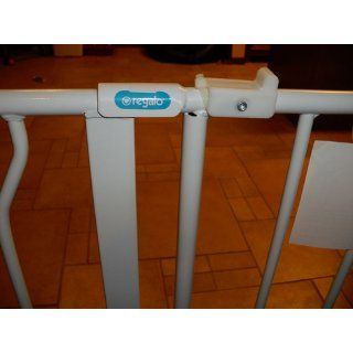 Regalo Easy Open 50 Inch Super Wide Walk Thru Gate   White  Indoor Safety Gates  Baby