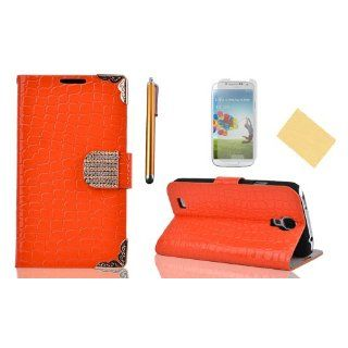 OMIU(TM)Special Corner Design Quality Wallet Leather Carry Case Cover with Credit Card Holders Fit for Samsung Galaxy S4 I9500(Orange), With Luxury Rhinestones Closure Button, Stand View Function, Sent Screen Protector+Stylus+Cleaning Cloth Cell Phones &a