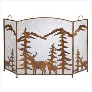 Fireplace Screen ~ Deer/Trees ~ Wrought Iron Sports & Outdoors