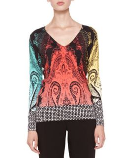 Womens Mixed Pattern Knit Top   Etro   Black multi (46/12)