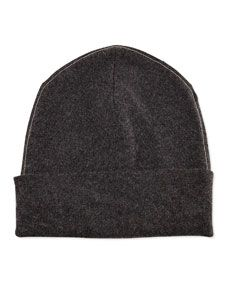 Brunello Cucinelli Cashmere Ribbed Hat w/Monili Trim, Volcano