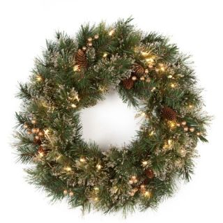 24 in. Glittery Gold Pine Pre Lit Wreath   Christmas Wreaths
