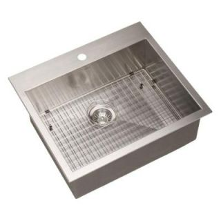 HOUZER Bellus Series Zero Radius Top Mount Stainless Steel 25 in. 1 Hole Single Bowl Lavatory Sink BCS 2522