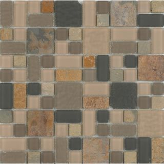 EPOCH Architectural Surfaces Ka Oi Multicolor Mosaic Glass/Metal/Stone Wall Tile (Common 12 in x 12 in; Actual 11.75 in x 11.75 in)