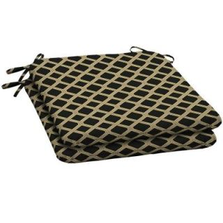 Hampton Bay Black Lattice Outdoor Seat Pad (2 Pack) DISCONTINUED AD08060B 9D2