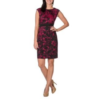 London Times Womens Floral Lace Print Sleeveless Dress