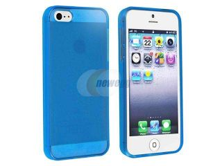 Insten Clear Blue TPU Rubber Skin Case Cover + Reusable Screen Protector Compatible with Apple iPhone 5