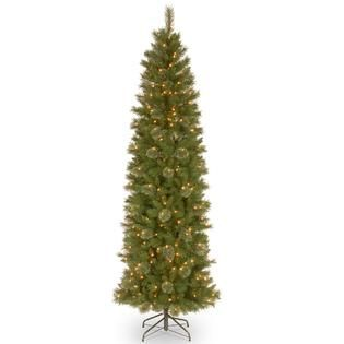 National Tree Company 7.5 ft. Tacoma Pine Pencil Slim Tree with Clear