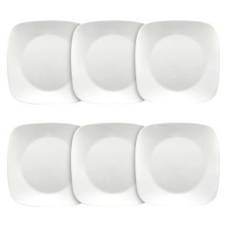 Corelle 6 Piece Pure White Square Lunch Plate Set (8.75)