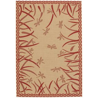 Capel Rugs Elsinore Dragonfly Machine Woven Red Pepper/Beige Area Rug