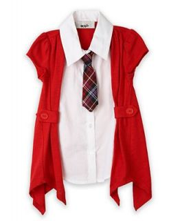 BCX Kids Shirt, Little Girls Layered Cardigan and Tie