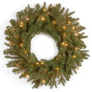 24 inch Feel Real Tiffany Fir Wreath with 50 Clear Lights