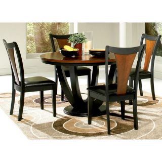 Besancon 5 piece Two tone Black/Cherry Dining Set   16801518