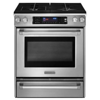 KitchenAid Pro Line Series 4.1 cu. ft. Slide In Gas Range with Self Cleaning Convection Oven in Stainless Steel KGSS907XSP