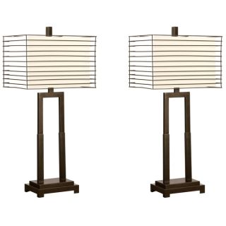 Modern Open Base Table Lamp with Wired Metal Frame Shade (Set of 2)