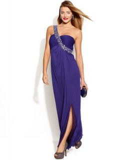Betsy & Adam One Shoulder Embellished Ruched Gown   Dresses   Women