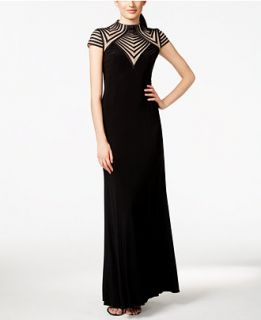 Betsy & Adam Illusion Striped Gown   Dresses   Women