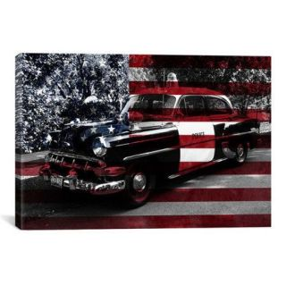 iCanvas Vintage Polics Cops Car, American Flag Graphic Art on Canvas