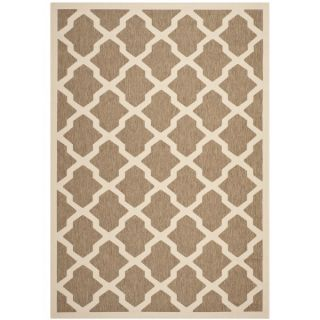 Contemporary Safavieh Indoor/ Outdoor Courtyard Brown/ Bone Rug (4 x