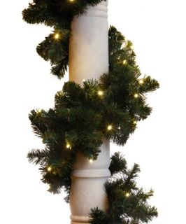 9 ft. Sierra Fir Garland   100 LED Concave Bulbs   Christmas Garland