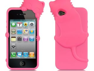 Apple iPhone 4S/iPhone 4 Hot Pink Cat Design High End Skin Case