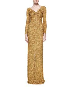 Marc Bouwer Long Sleeve Sequined Column Gown