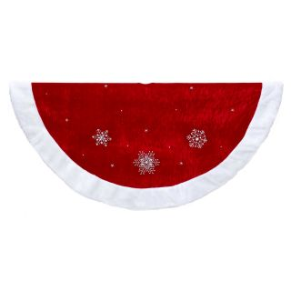 Kurt Adler Red Snowflakes with White Border Tree Skirt   Christmas Decorative Accents