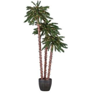 STERLING 5 ft., 6 ft. and 7 ft. Potted Palm Artificial Christmas Tree with Clear Lights 5205 567C