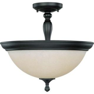 Glomar 3 Light Aged Bronze Semi Flush Mount Dome Light with Biscotti Glass HD 2787