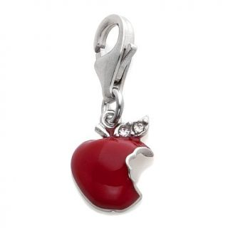 Charming Silver Inspirations Sterling Silver and Red Enamel Apple Dangle Charm