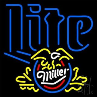 Sign Store N100 3815 Miller Lite Eagle Beer Neon Sign, 24 x 24 x 3 inch
